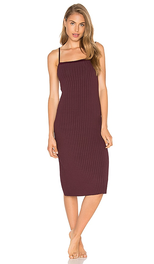 Only Hearts Wide Wale Rib Midi Slip Dress in Wine