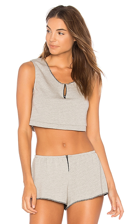 Only Hearts French Terry Cropped Tank in Gray