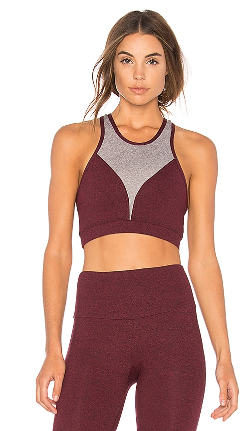 onzie High Neck Sports Bra in Burgundy