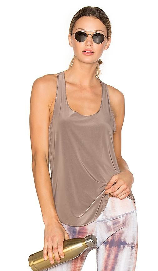 onzie Glossy Flow Tank in Taupe