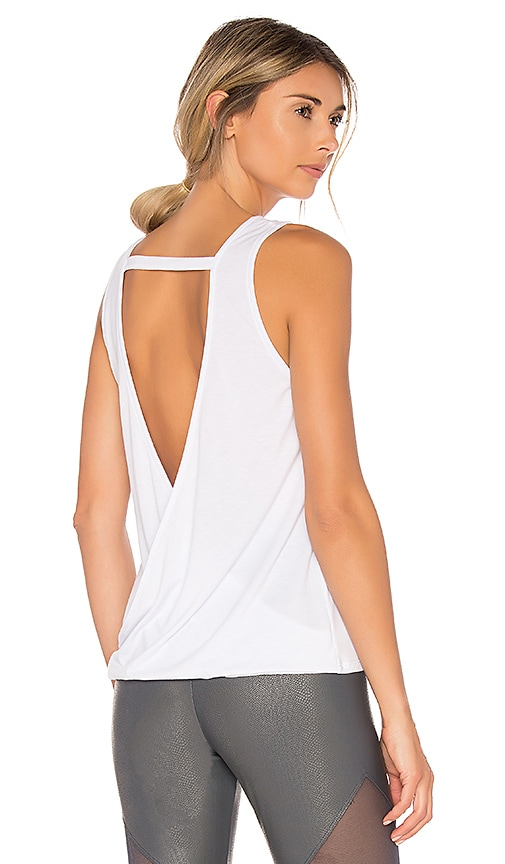 onzie V Back Tank in White