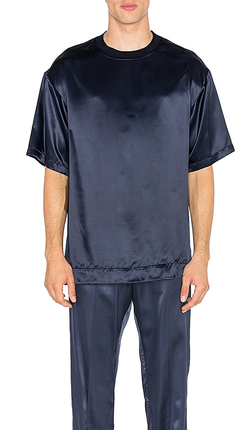 Opening Ceremony Silky Flannel Oversize Tee in Navy