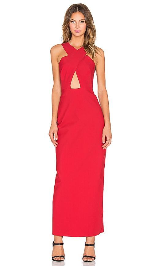 OSKLEN Overlap Front Maxi Dress in Carmim