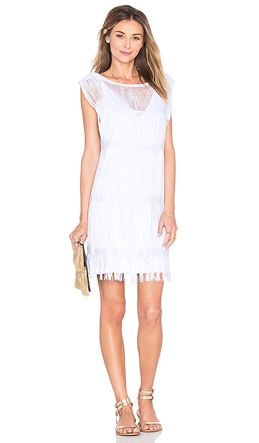 OSKLEN Fringe Mini Dress in White