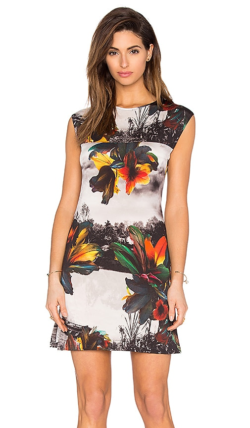 OSKLEN Canoe Floral Dress in Red & Yellow & Grey