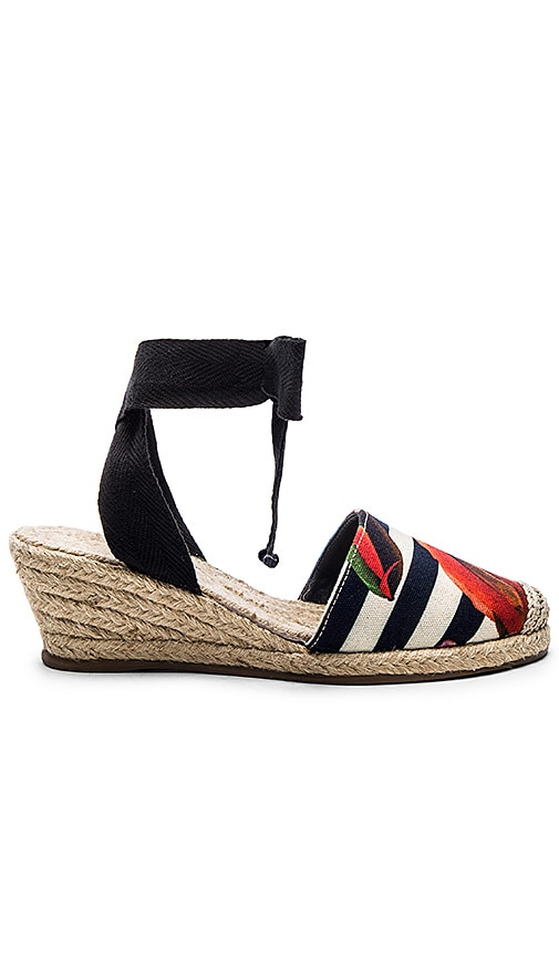 OSKLEN Flower Stripe Heeled Espadrille in Yellow & Blue & Red