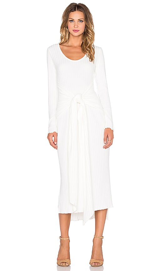 Otis & Maclain Parker Long Sleeve Dress in White Ribbed