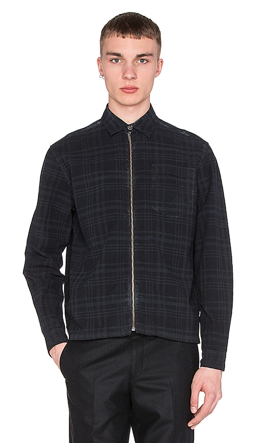 Our Legacy Short Zip Shirt in Overdyed Indigo Check
