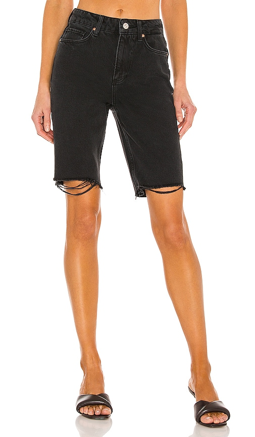Paige Robbie High Rise Short In Black Meadow With Stringy Hem