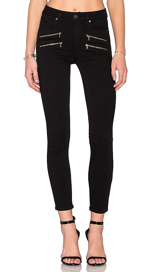 Paige Denim High Rise Edgemont Ultra Skinny in Black Shadow