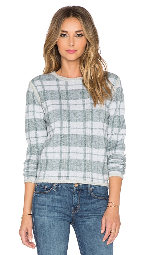 Paige Denim Autry Sweater in Optic White & Mint & Light Heather