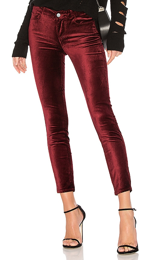 PAIGE Verdugo Velvet Ankle Pant in Red