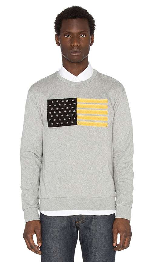 Palm Angels Flag Embroidery Crewneck Sweatshirt in Gray