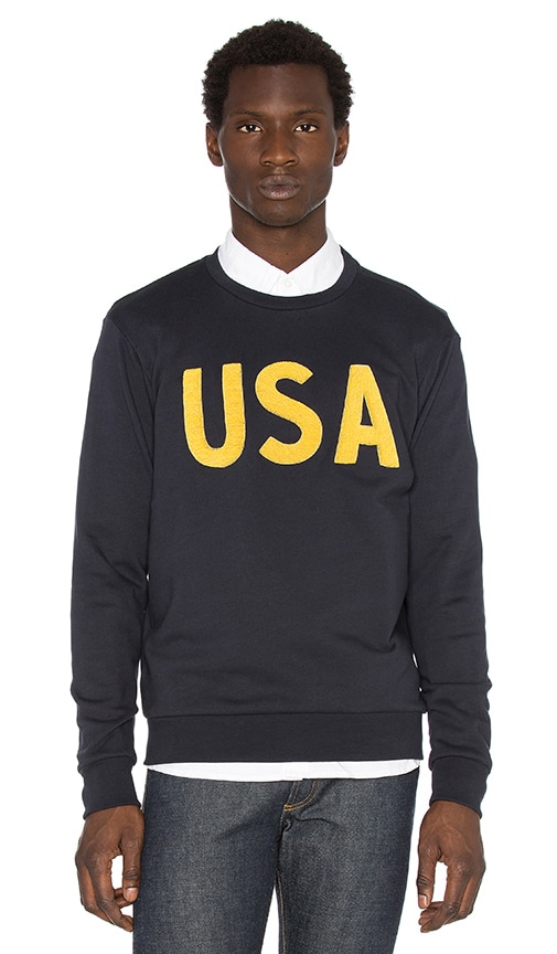 Palm Angels USA Embroidered Crewneck Sweatshirt in Dark Blue Gold