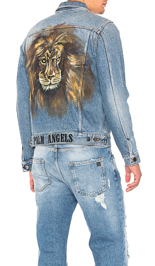 Palm Angels Lion Denim Jacket in Vintage Wash Multi