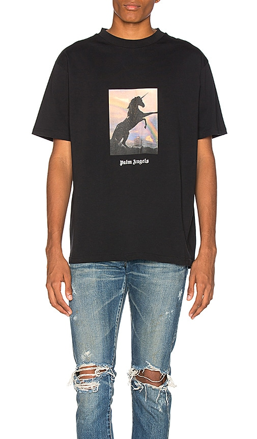 Palm Angels Unicorns Do Exist Tee in Black