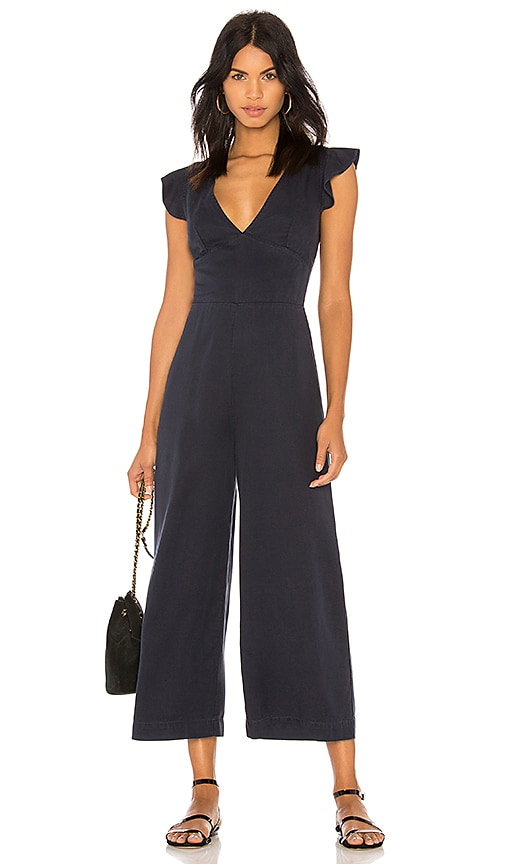 Ruffle Sleeve Laced Back Jumpsuit
