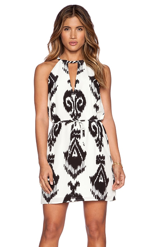 Pam & Gela Cutout Print Dress in Cream Multi Ikat