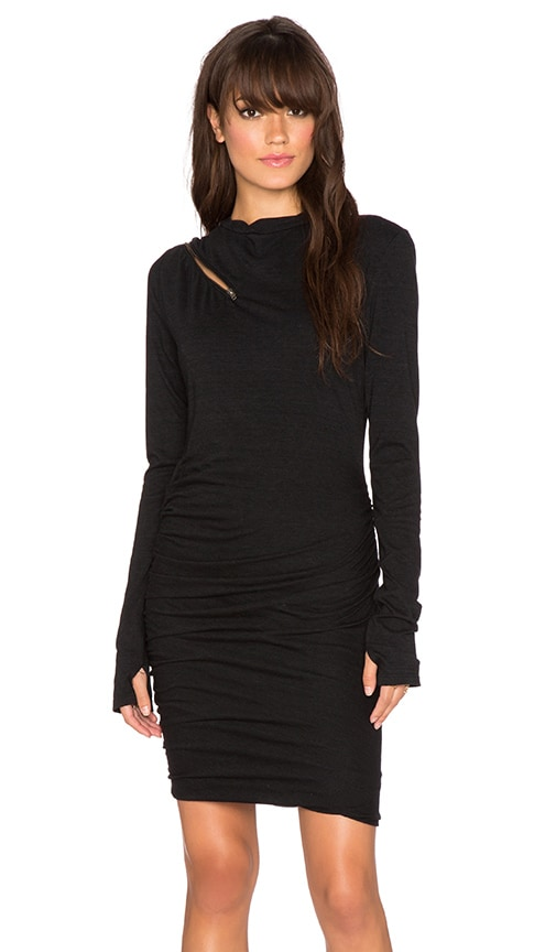 Pam & Gela Cut Out Knit Dress in Black