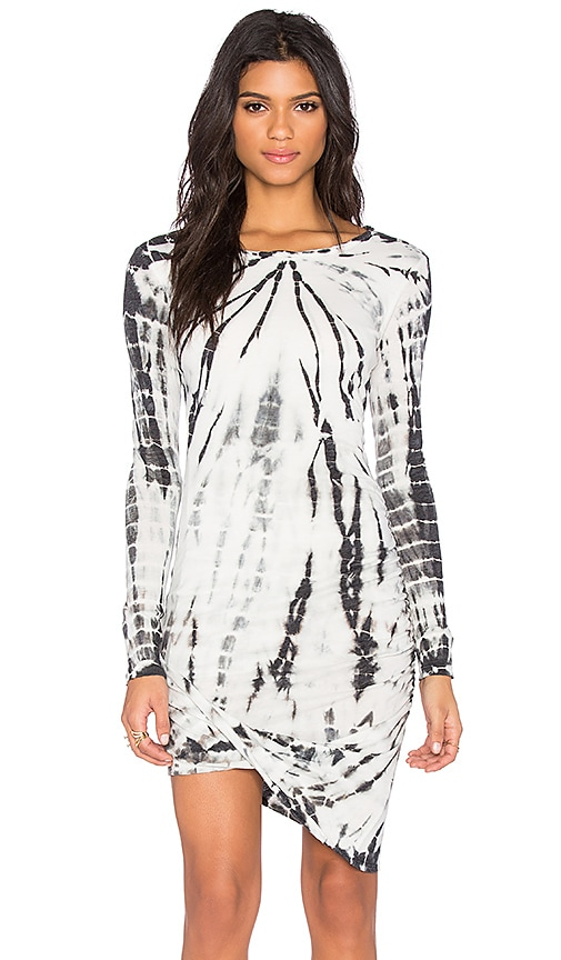 Pam & Gela Drape Front Dress in Black & White Tie Dye