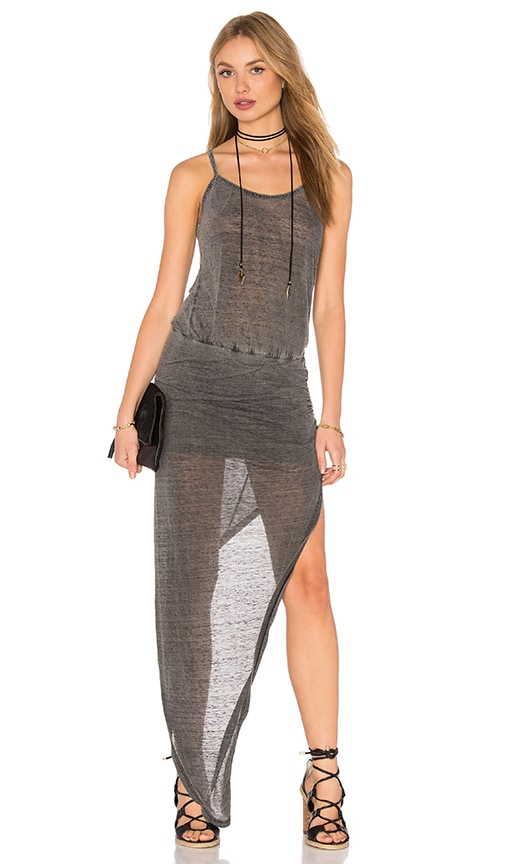 Pam & Gela Wrap Ruched Dress in Charcoal