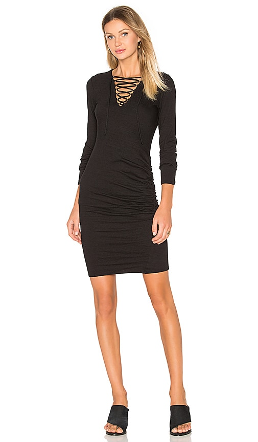 Pam & Gela Lace Up Ruched Dress in Black