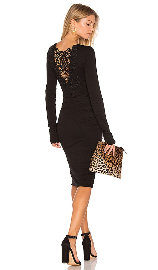 Pam & Gela Long Sleeve Ruched Lace Dress in Black