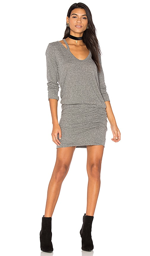 Pam & Gela Split V Neck Dress in Gray