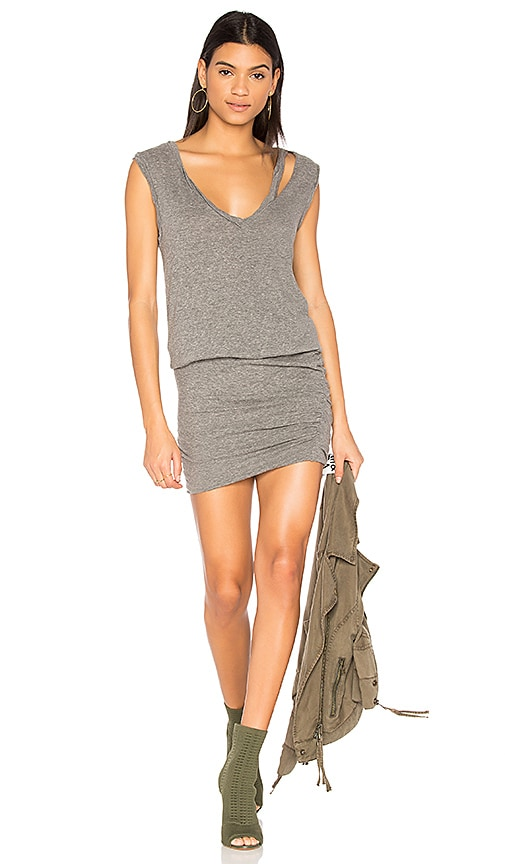 Pam & Gela Slash Neck Ruched Dress in Gray