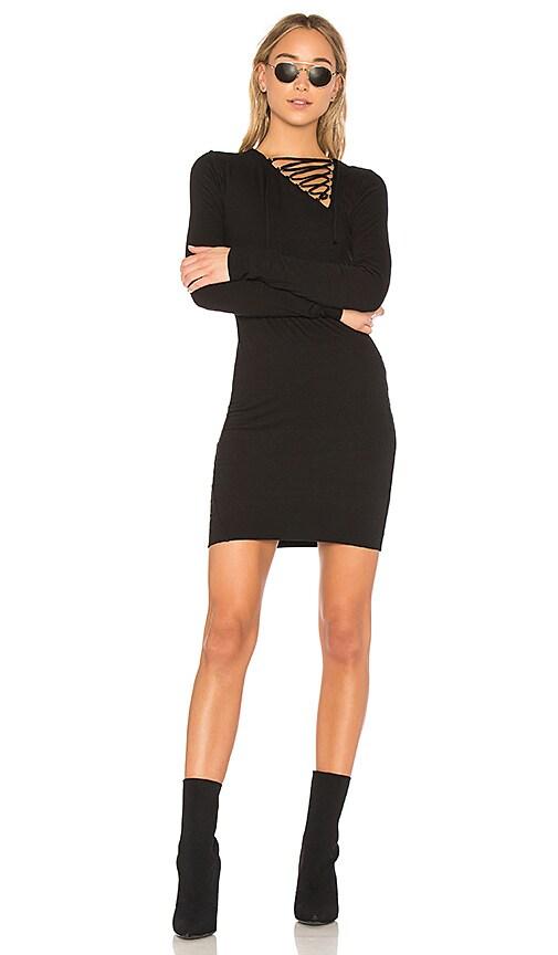 Pam & Gela Lace Up Dress in Black