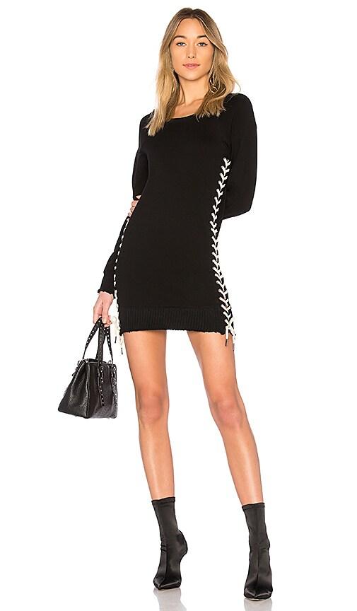 Pam & Gela Lace Up Sweatshirt Dress in Black