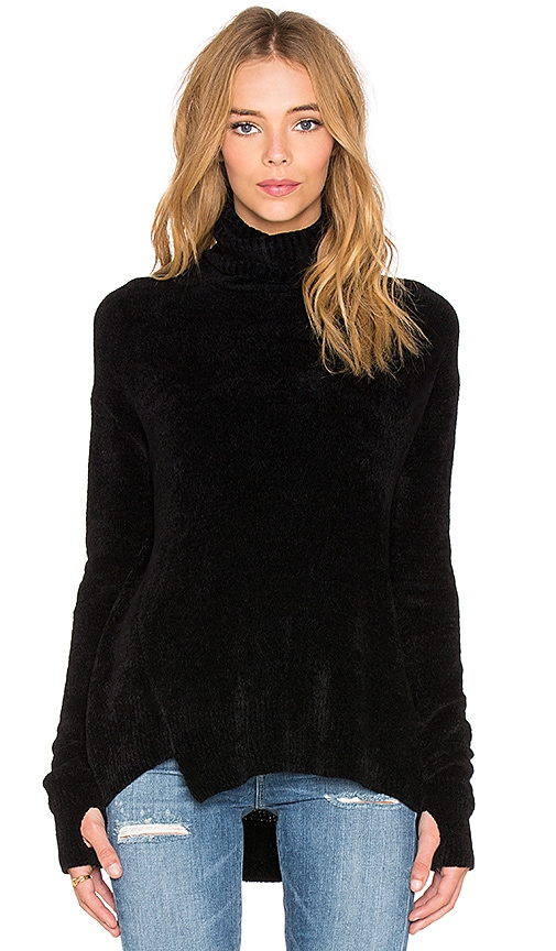 Pam & Gela Chenille Turtleneck Sweater in Black