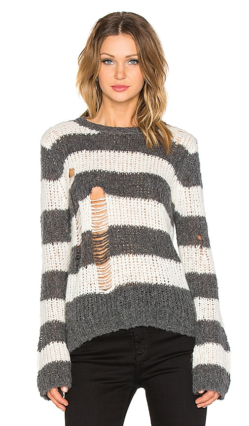 Pam & Gela Holey Sweater in Cream & Charcoal Heather