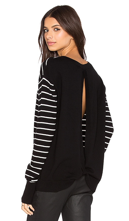 Pam & Gela Twisted Back Sweater in Black & Cream Stripe