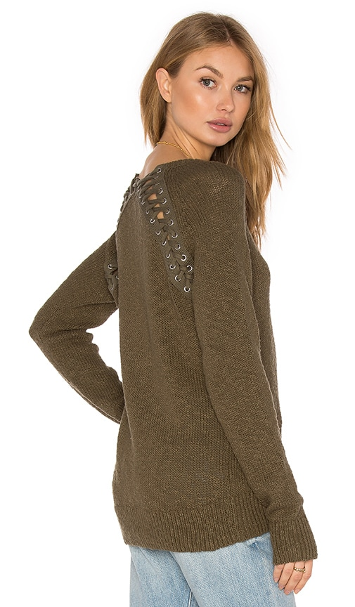 Pam & Gela Lace Back Sweater in Army