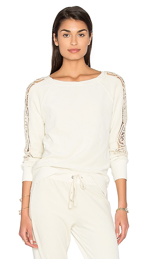 Pam & Gela Lace Sleeve Sweatshirt in Beige