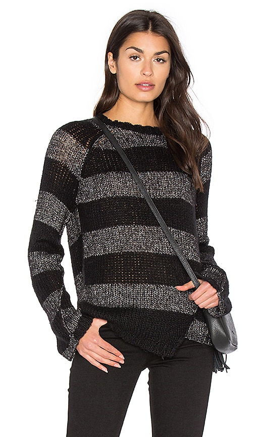 Pam & Gela Offset Stripe Sweater in Black