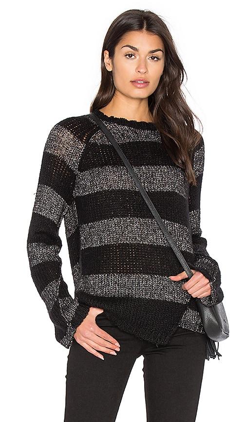 Pam & Gela Offset Stripe Sweater in Black