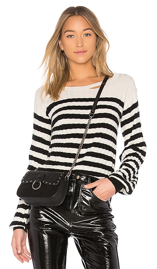 Pam & Gela Destroyed Sweater in Black & White