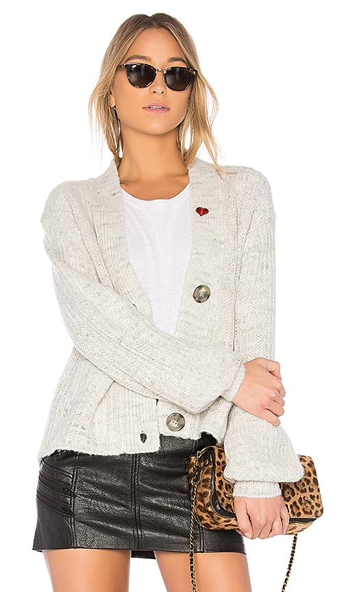 Pam & Gela Heart Patch Cardigan in Gray