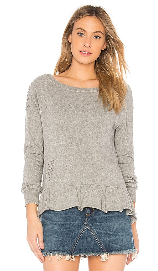 Pam & Gela Ruffle Sweatshirt in Gray
