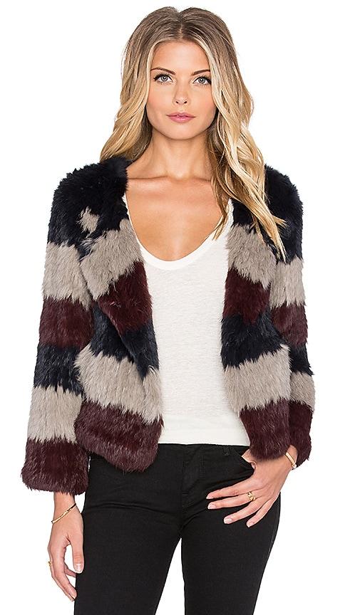 Pam & Gela Rabbit Fur Coat in Multi Stripe