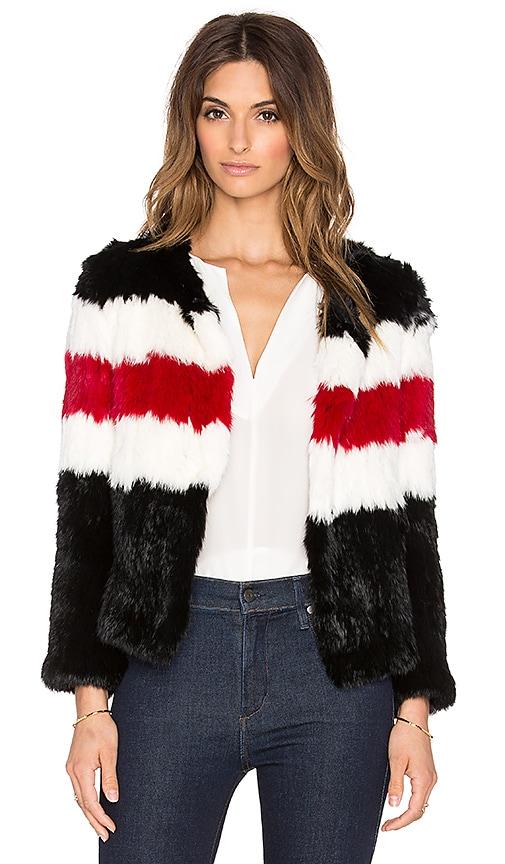 Pam & Gela Knitted Rabbit Fur Jacket in Black & Cream & Red