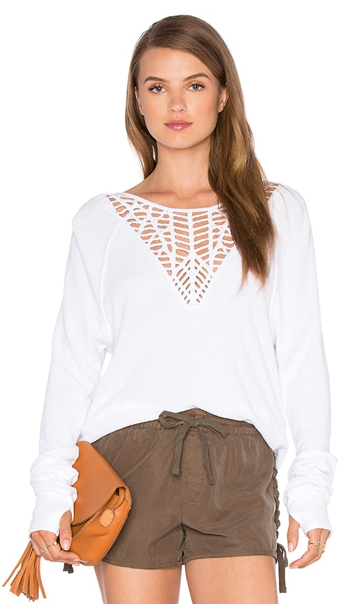 Pam & Gela Lace Sweatshirt in White