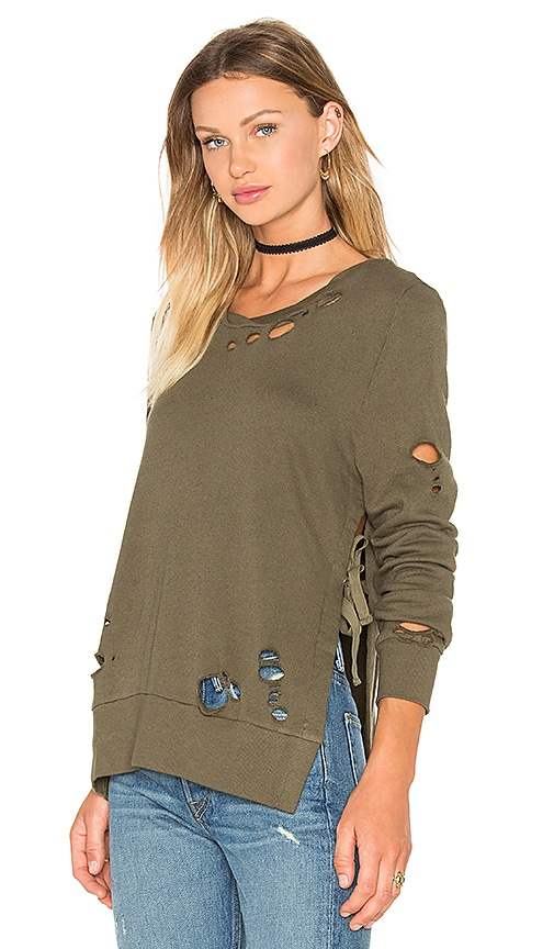 Pam & Gela Destroyed Side Slit Sweatshirt in Green