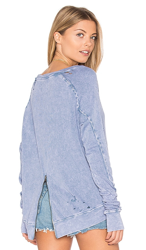 Pam & Gela Destroyed Annie Hi Lo Sweatshirt in Blue
