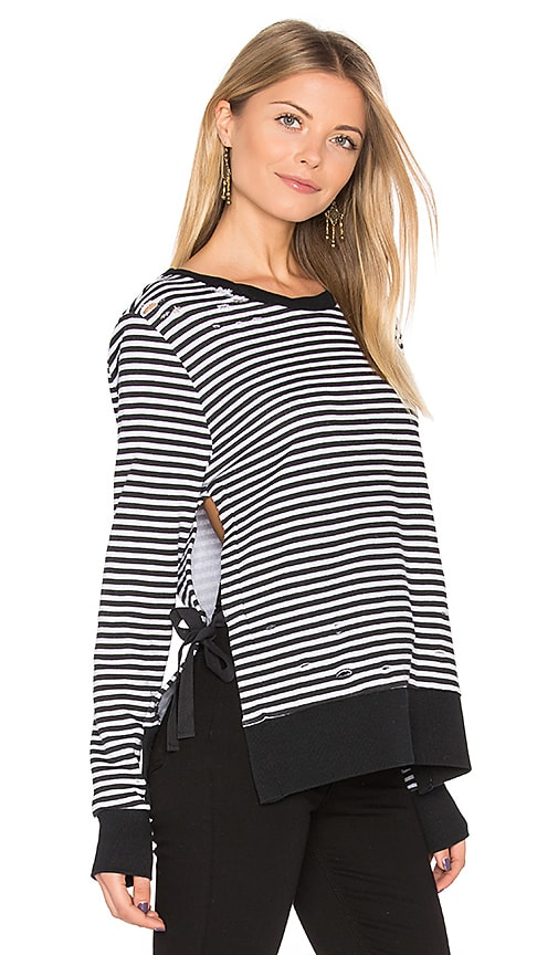 Pam & Gela Stripe Side Slit Sweatshirt in Black