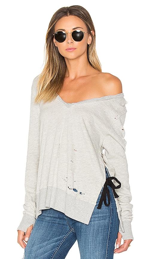 Pam & Gela V-Neck Side Slit Sweatshirt in Gray