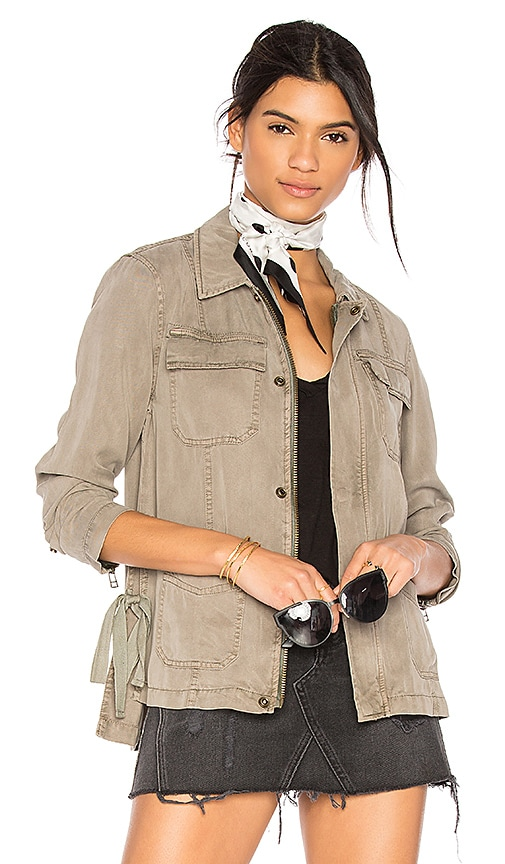 Pam & Gela Cargo Jacket With Side Ties in Green