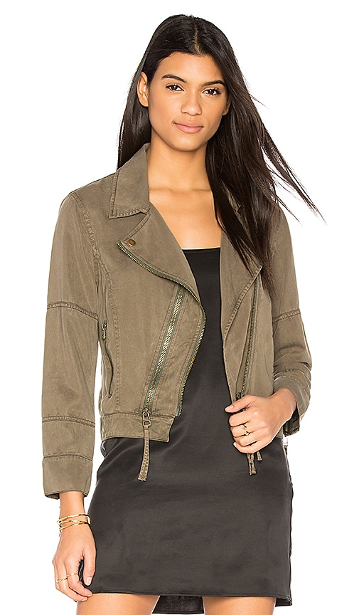 Pam & Gela Cropped Moto Jacket in Army